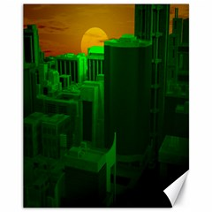 Green Building City Night Canvas 11  x 14