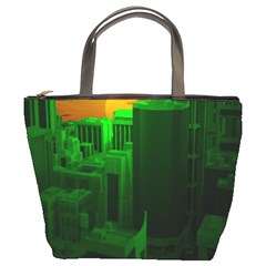 Green Building City Night Bucket Bags