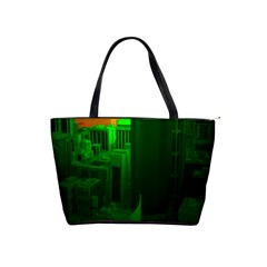 Green Building City Night Shoulder Handbags