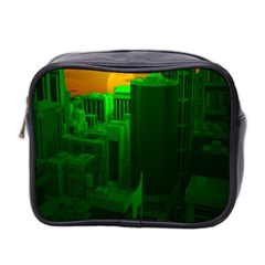 Green Building City Night Mini Toiletries Bag 2-Side