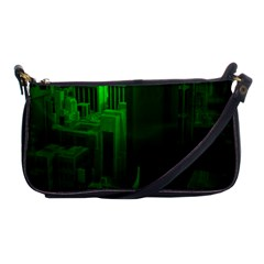 Green Building City Night Shoulder Clutch Bags