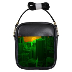 Green Building City Night Girls Sling Bags