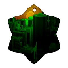 Green Building City Night Snowflake Ornament (2-Side)