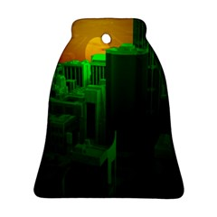 Green Building City Night Bell Ornament (2 Sides)