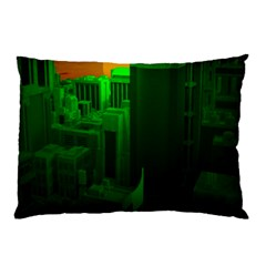 Green Building City Night Pillow Case (Two Sides)
