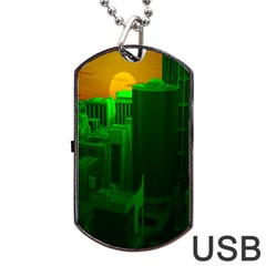 Green Building City Night Dog Tag USB Flash (One Side)