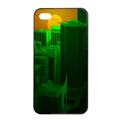 Green Building City Night Apple iPhone 4/4s Seamless Case (Black)