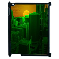 Green Building City Night Apple iPad 2 Case (Black)