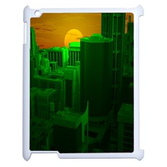 Green Building City Night Apple iPad 2 Case (White)