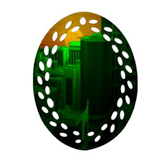 Green Building City Night Oval Filigree Ornament (2-Side)