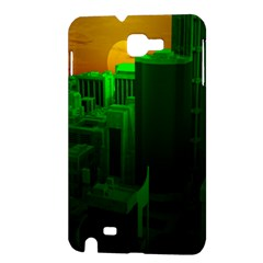 Green Building City Night Samsung Galaxy Note 1 Hardshell Case