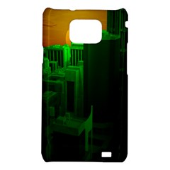 Green Building City Night Samsung Galaxy S2 i9100 Hardshell Case
