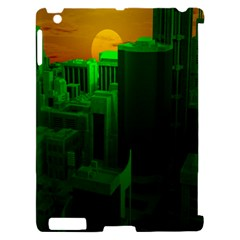 Green Building City Night Apple iPad 2 Hardshell Case (Compatible with Smart Cover)