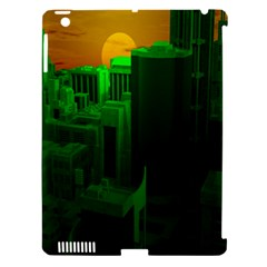 Green Building City Night Apple iPad 3/4 Hardshell Case (Compatible with Smart Cover)
