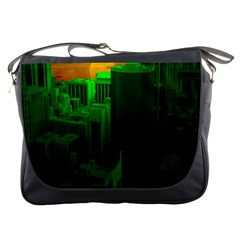 Green Building City Night Messenger Bags