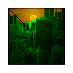 Green Building City Night Acrylic Tangram Puzzle (6  x 6 )