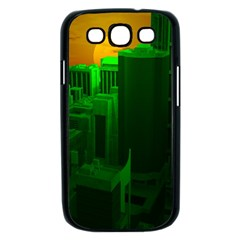 Green Building City Night Samsung Galaxy S III Case (Black)