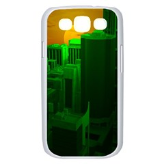 Green Building City Night Samsung Galaxy S III Case (White)