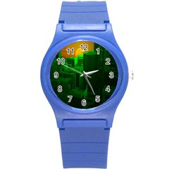 Green Building City Night Round Plastic Sport Watch (S)