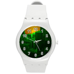 Green Building City Night Round Plastic Sport Watch (M)