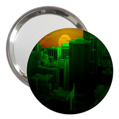Green Building City Night 3  Handbag Mirrors