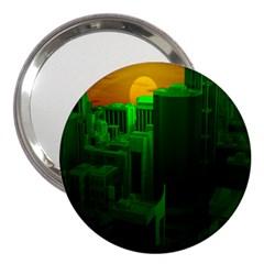Green Building City Night 3  Handbag Mirrors