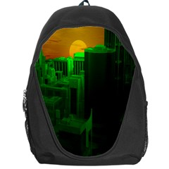 Green Building City Night Backpack Bag