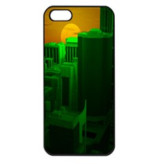 Green Building City Night Apple iPhone 5 Seamless Case (Black)