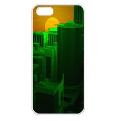Green Building City Night Apple iPhone 5 Seamless Case (White)