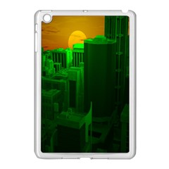 Green Building City Night Apple iPad Mini Case (White)