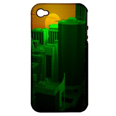 Green Building City Night Apple iPhone 4/4S Hardshell Case (PC+Silicone)