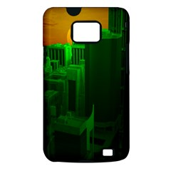 Green Building City Night Samsung Galaxy S II i9100 Hardshell Case (PC+Silicone)