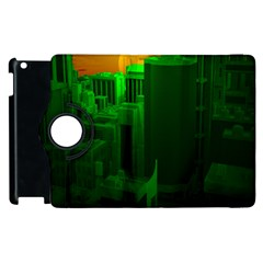 Green Building City Night Apple iPad 2 Flip 360 Case