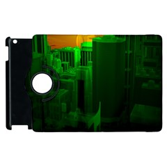 Green Building City Night Apple iPad 3/4 Flip 360 Case