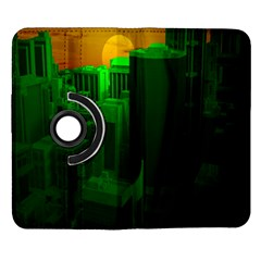 Green Building City Night Samsung Galaxy Note II Flip 360 Case