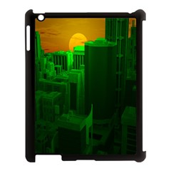 Green Building City Night Apple iPad 3/4 Case (Black)