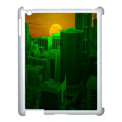 Green Building City Night Apple iPad 3/4 Case (White)