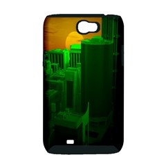 Green Building City Night Samsung Galaxy Note 2 Hardshell Case (PC+Silicone)