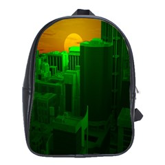 Green Building City Night School Bags (XL)
