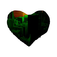 Green Building City Night Standard 16  Premium Heart Shape Cushions