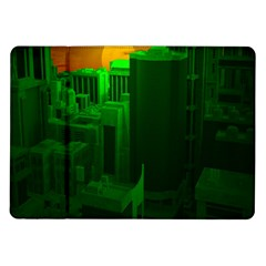 Green Building City Night Samsung Galaxy Tab 10.1  P7500 Flip Case