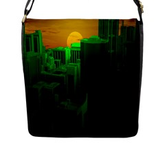 Green Building City Night Flap Messenger Bag (L)