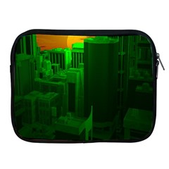 Green Building City Night Apple iPad 2/3/4 Zipper Cases