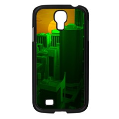 Green Building City Night Samsung Galaxy S4 I9500/ I9505 Case (Black)