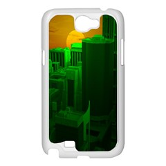 Green Building City Night Samsung Galaxy Note 2 Case (White)