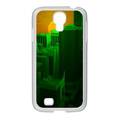 Green Building City Night Samsung GALAXY S4 I9500/ I9505 Case (White)
