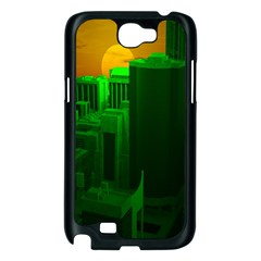 Green Building City Night Samsung Galaxy Note 2 Case (Black)