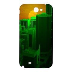 Green Building City Night Samsung Note 2 N7100 Hardshell Back Case