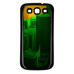 Green Building City Night Samsung Galaxy S3 Back Case (Black)