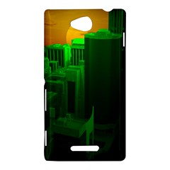Green Building City Night Sony Xperia C (S39H)